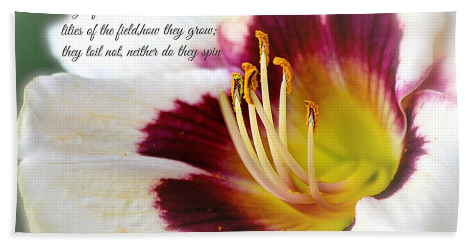#lily Bath Sheet featuring the photograph Lily With Scripture by Debbie Nobile