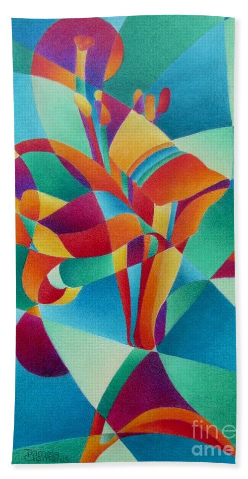 Lily Hand Towel featuring the painting Essentially Lily by Pamela Clements