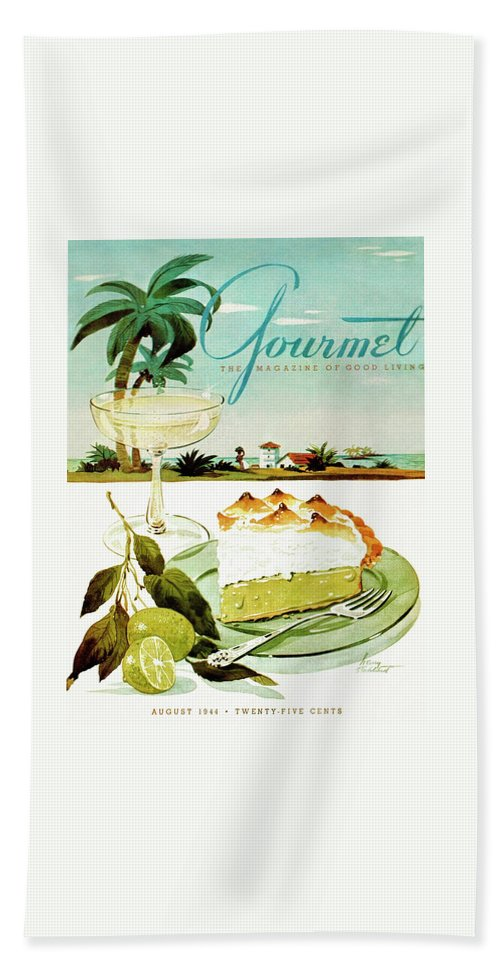 Food Bath Towel featuring the photograph Lime Meringue Pie With Champagne by Henry Stahlhut