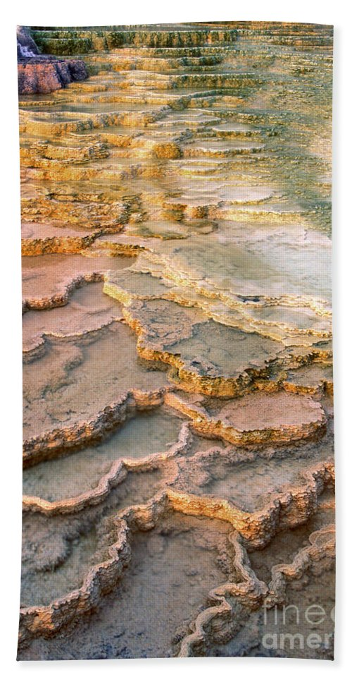 North America Hand Towel featuring the photograph Limestone Terraces Yellowstone National Park by Dave Welling