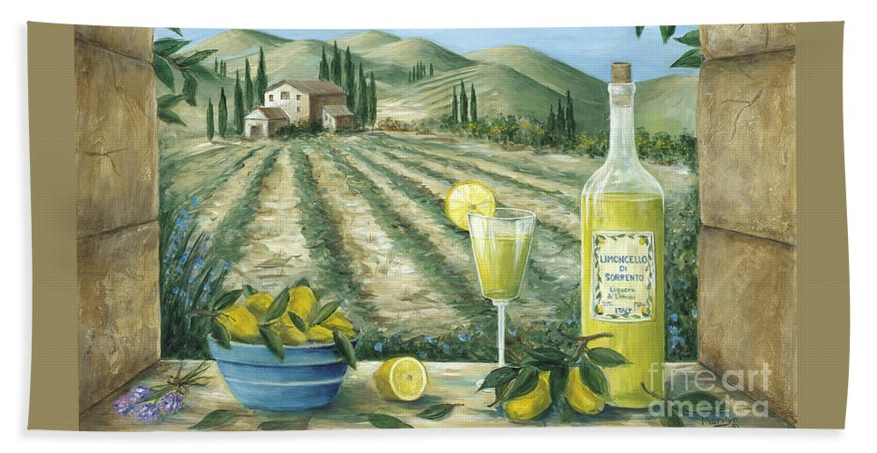 Tuscany Bath Sheet featuring the painting Limoncello by Marilyn Dunlap