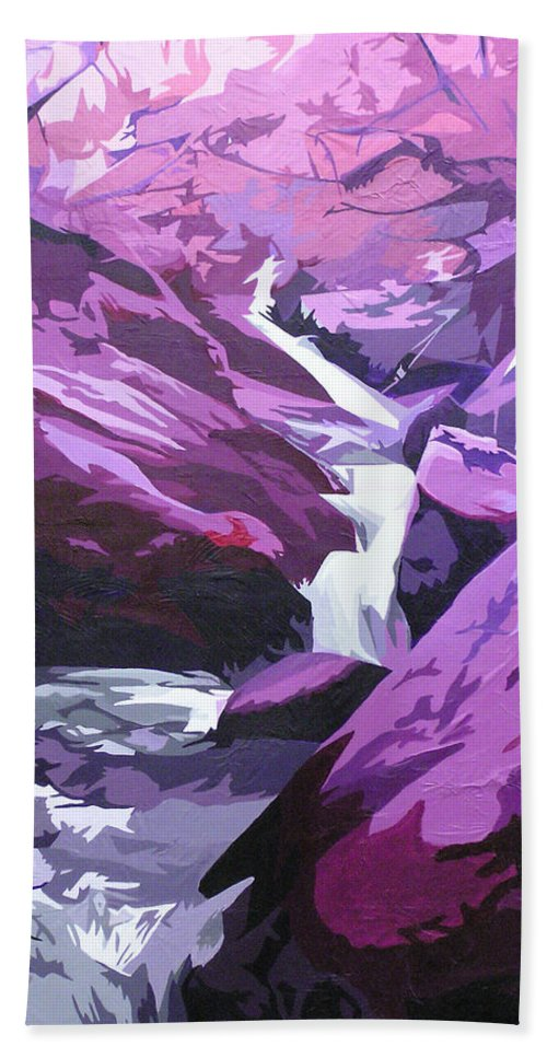 Creek Hand Towel featuring the painting Limpy Creek by Joshua Morton