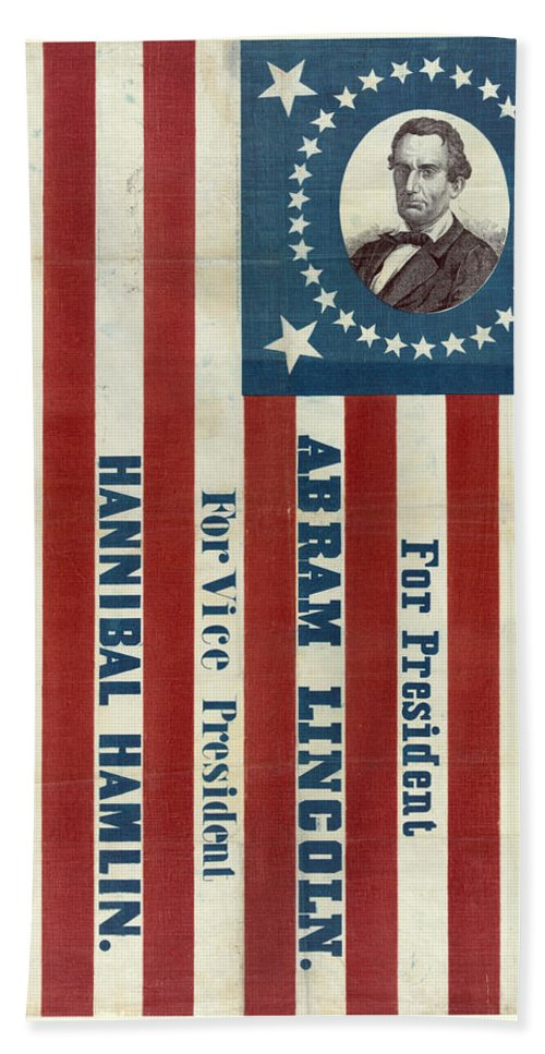 Lincoln Hand Towel featuring the photograph Lincoln 1860 Presidential Campaign Banner by John Stephens