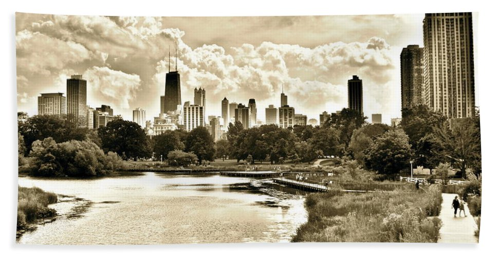 Lincoln Bath Sheet featuring the photograph Lincoln Park View Sepia by Frozen in Time Fine Art Photography