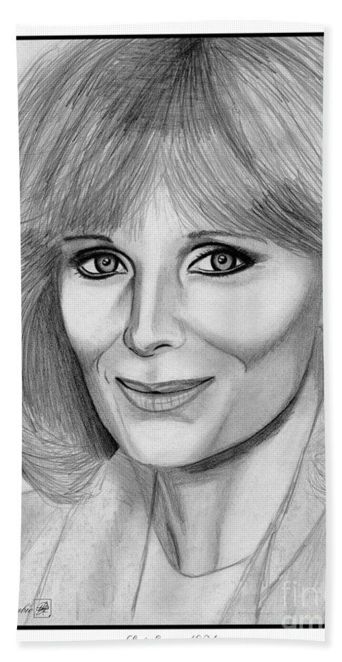 Linda Evans Bath Sheet featuring the drawing Linda Evans In 1984 by J McCombie