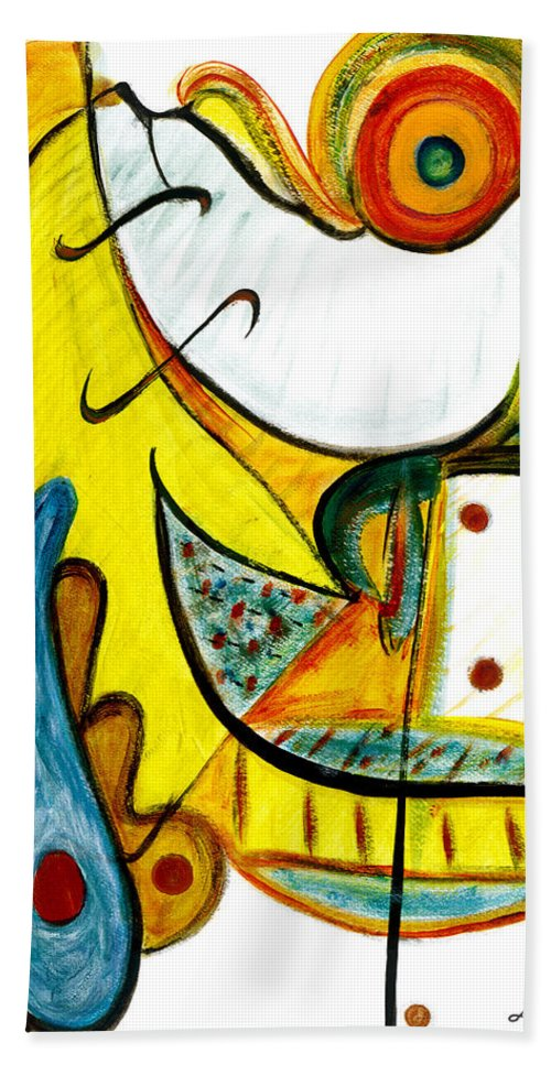 Abstract Art Hand Towel featuring the painting Linda Paloma by Stephen Lucas