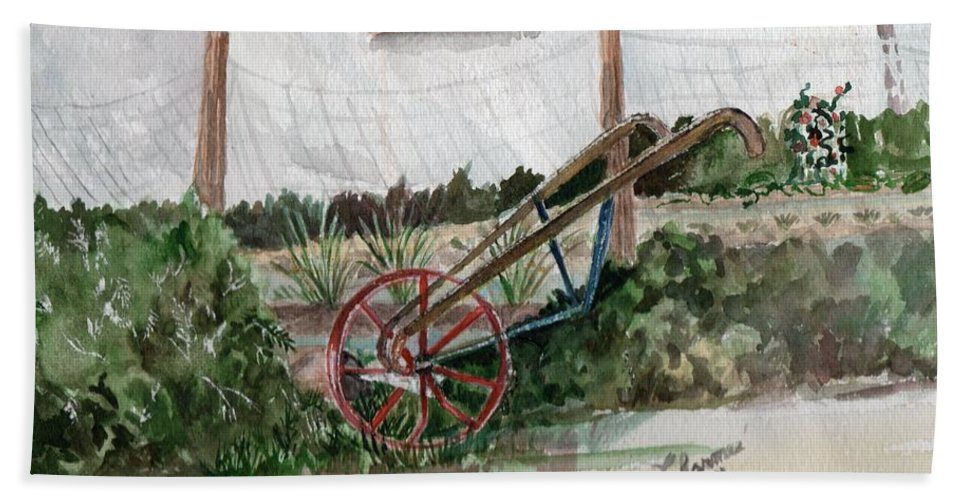 Old Gardening Tool Bath Sheet featuring the painting Lindas' Garden by Charme Curtin