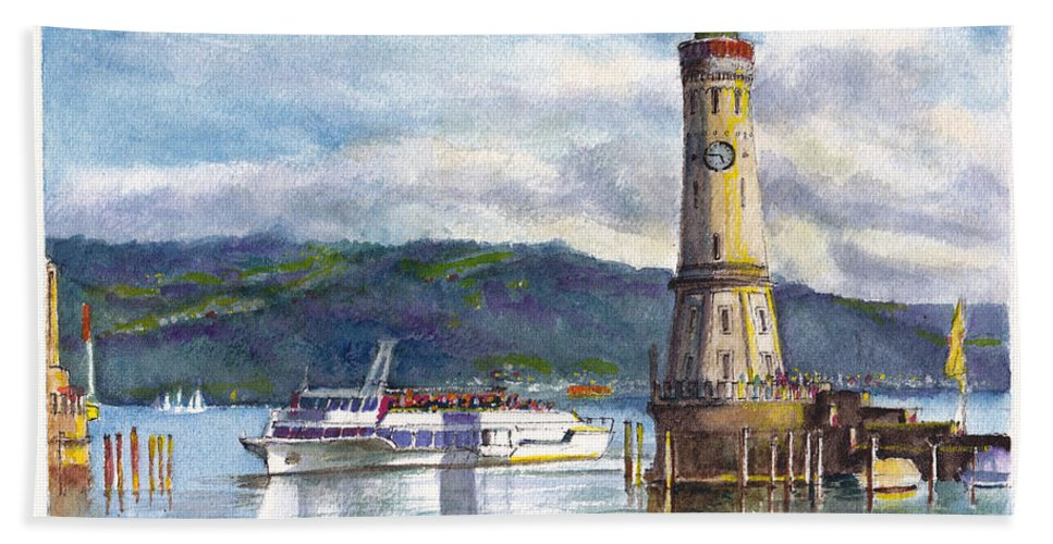 Lake Bath Sheet featuring the painting Lindau Light And Harbour by Dai Wynn