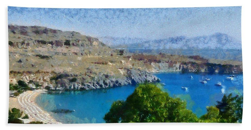 Rodos Bath Sheet featuring the painting Lindos Beach by George Atsametakis