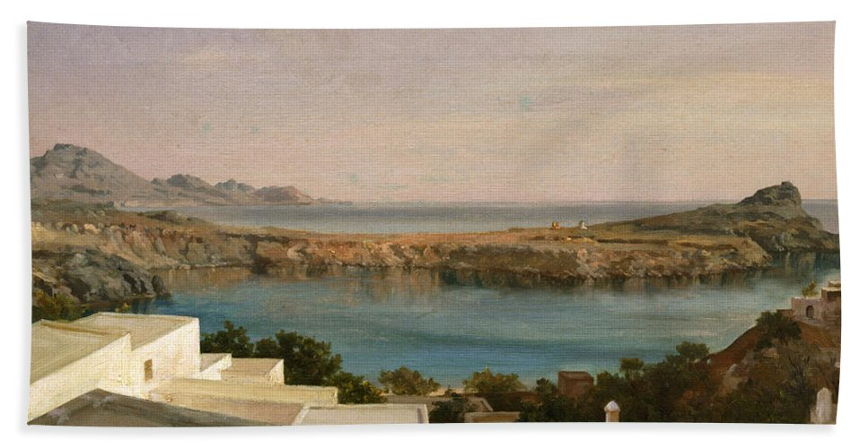 Frederic Leighton Hand Towel featuring the painting Lindos Rhodes by Frederic Leighton