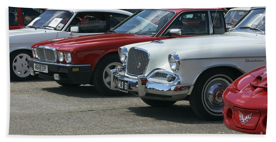 Cars Bath Sheet featuring the photograph A Line Up Of Vintage Cars by Terri Waters