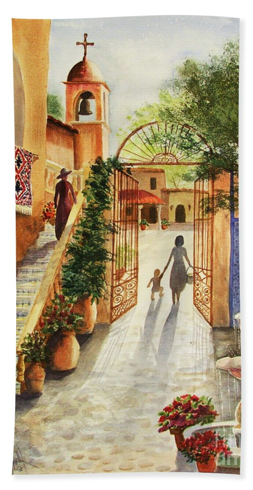 Tlaquepaque Bath Sheet featuring the painting Lingering Spirit-sedona by Marilyn Smith