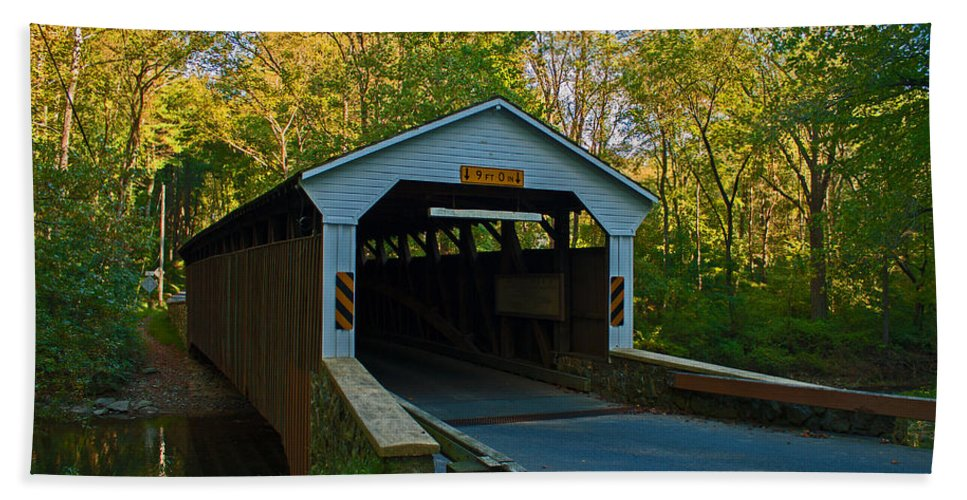 Linton Stevens Covered Bridge Bath Sheet featuring the photograph Linton Stevens Covered Bridge by Michael Porchik