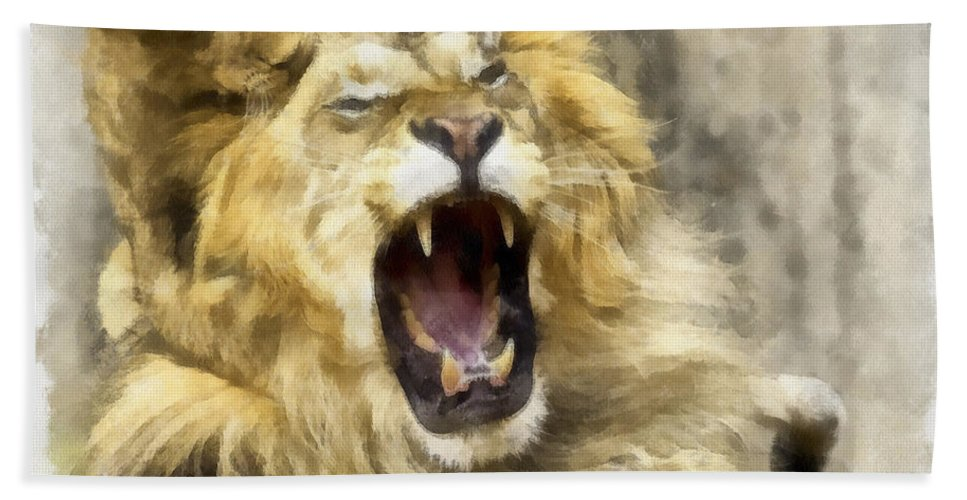 Aquarell Hand Towel featuring the photograph Lion 15 by Ingrid Smith-Johnsen
