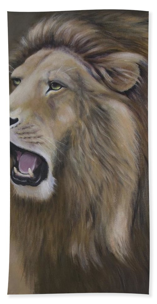 Lion Hand Towel featuring the painting Lion by Barbara Hymer