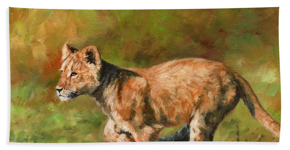 Lion Hand Towel featuring the painting Lion Cub Running by David Stribbling