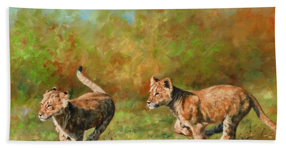 Lion Cubs Bath Sheet featuring the painting Lion Cubs Running by David Stribbling