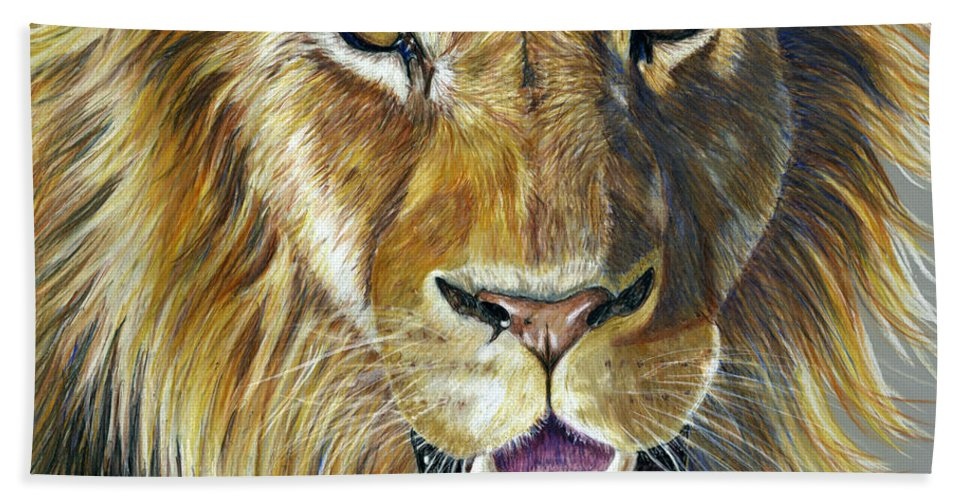 Lions Hand Towel featuring the painting Lion King by Michelle Wrighton