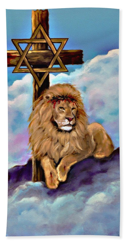 Africa Bath Sheet featuring the painting Lion Of Judah At The Cross by Bob and Nadine Johnston