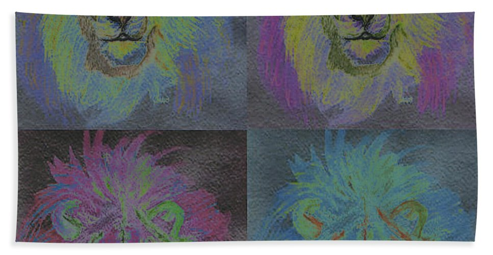 First Star Art Bath Sheet featuring the painting Lion X 4 Color By Jrr by First Star Art