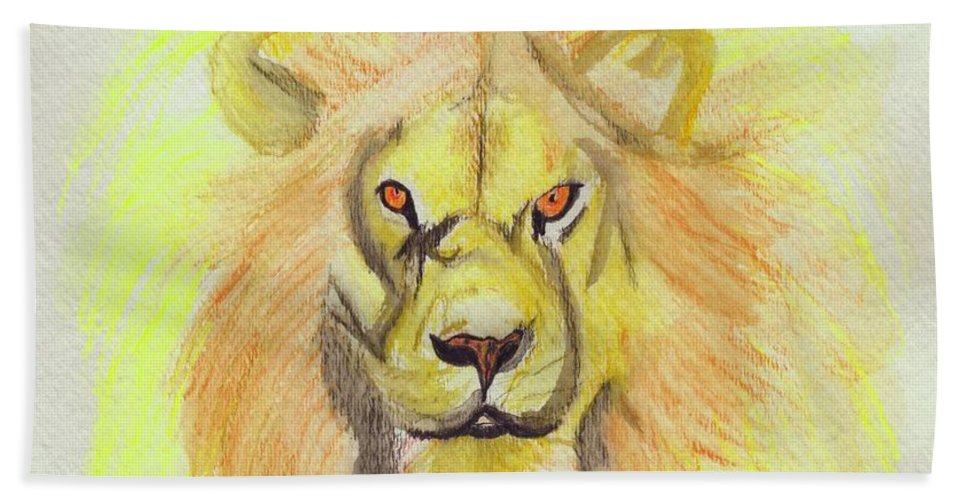 Lion Bath Sheet featuring the painting Lion Yellow by First Star Art