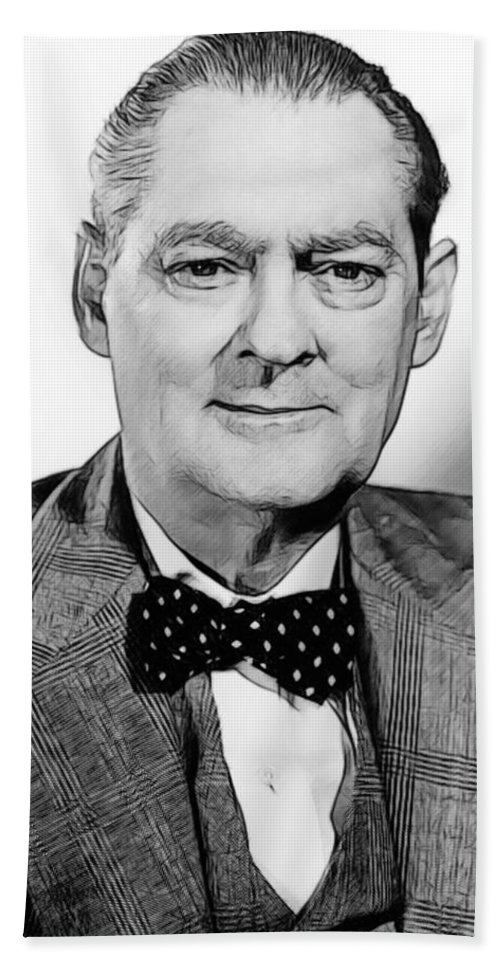 Celebrity Bath Towel featuring the drawing Lionel Barrymore 003 by Dean Wittle