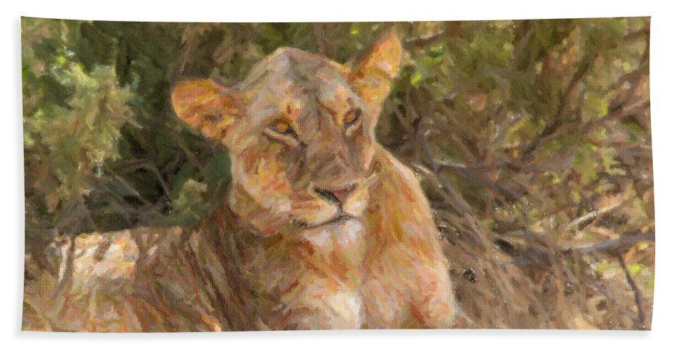 Lioness Hand Towel featuring the digital art Lioness Panthera Leo Resting by Liz Leyden