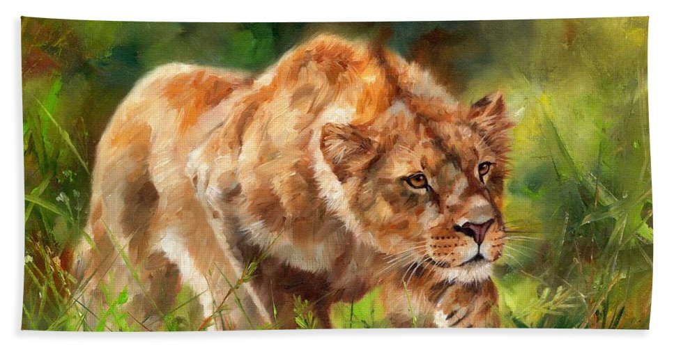 Lion Bath Sheet featuring the painting Lioness Stalking by David Stribbling
