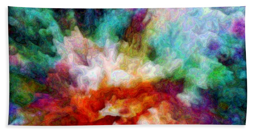 Abstract Hand Towel featuring the digital art Liquid Colors - Enamel Edition by Lilia D