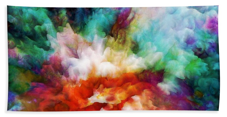 Abstract Hand Towel featuring the painting Liquid Colors - Original by Lilia D
