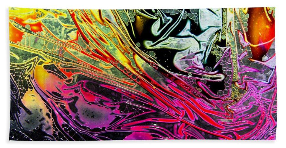 Surrealism Bath Sheet featuring the digital art Liquid Decalcomaniac Desires 1 by Otto Rapp