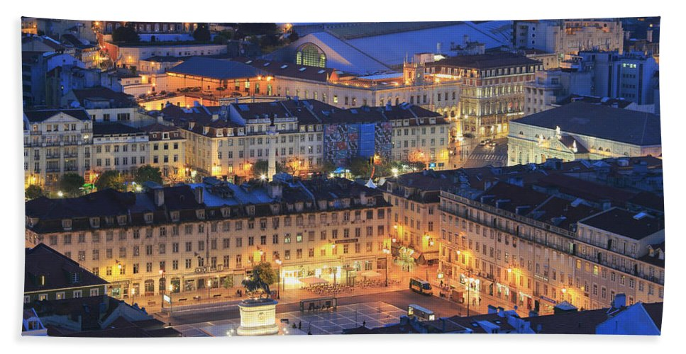 Architecture Bath Sheet featuring the photograph Lisbon At Night Portugal by Ivan Pendjakov
