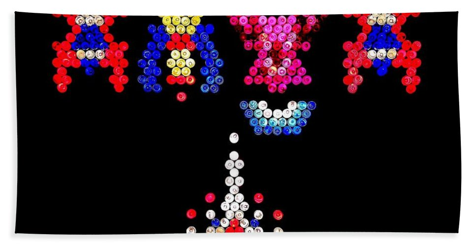 Galaga Bath Sheet featuring the photograph Lite Brite - Galaga by Benjamin Yeager