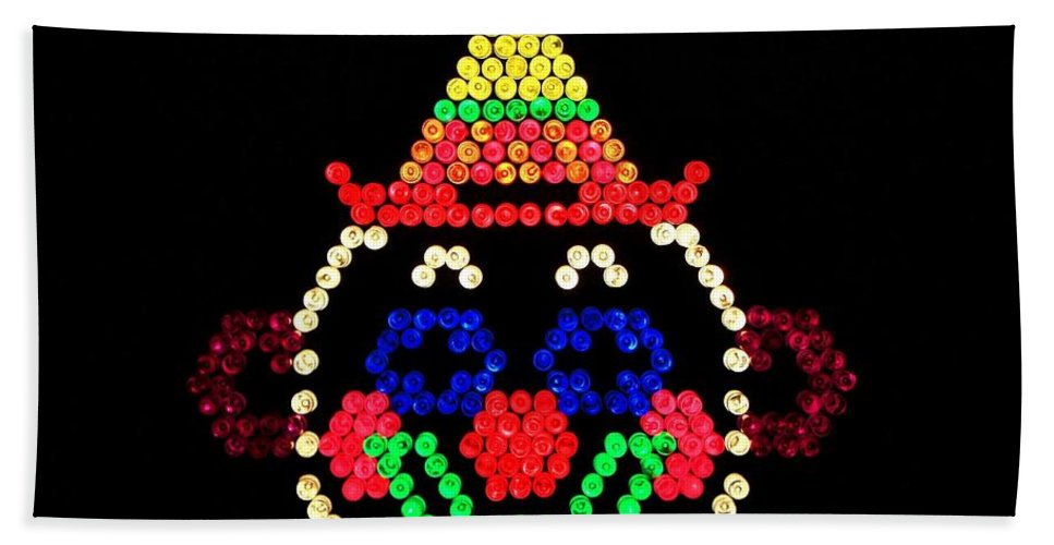 Nostalgia Bath Sheet featuring the photograph Lite Brite - The Classic Clown by Benjamin Yeager