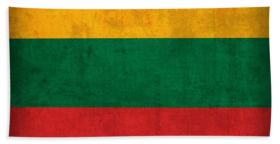 Lithuania Hand Towel featuring the mixed media Lithuania Flag Vintage Distressed Finish by Design Turnpike