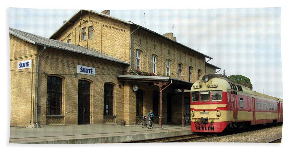 Transportation Bath Sheet featuring the photograph Lithuania. Silute Train Station. 2008 by Ausra Huntington nee Paulauskaite