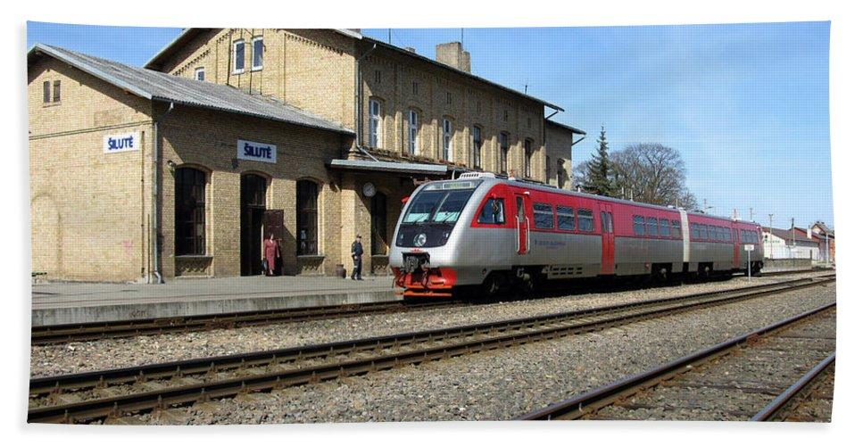 Transportation Bath Sheet featuring the photograph Lithuania. Silute Train Station. 2009 by Ausra Huntington nee Paulauskaite