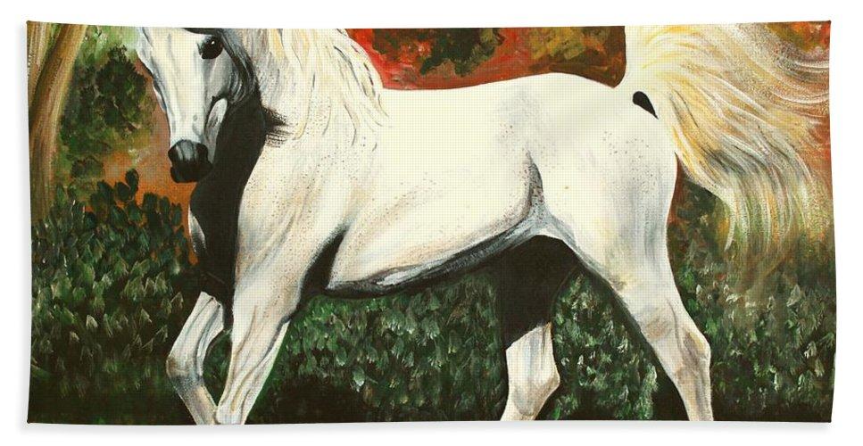 Arabian Bath Sheet featuring the painting Little Arabian by Laura Wilson