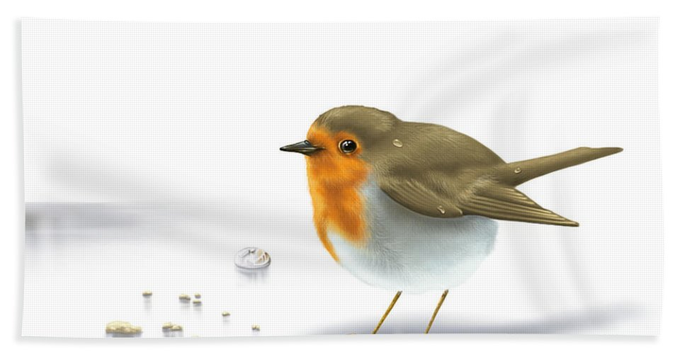 Digital Bath Sheet featuring the painting Little Bird by Veronica Minozzi