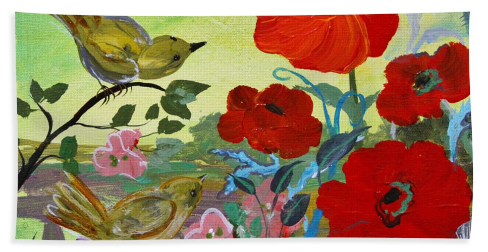 Birds And Poppies Hand Towel featuring the painting Little Birds And Poppies by Robin Maria Pedrero