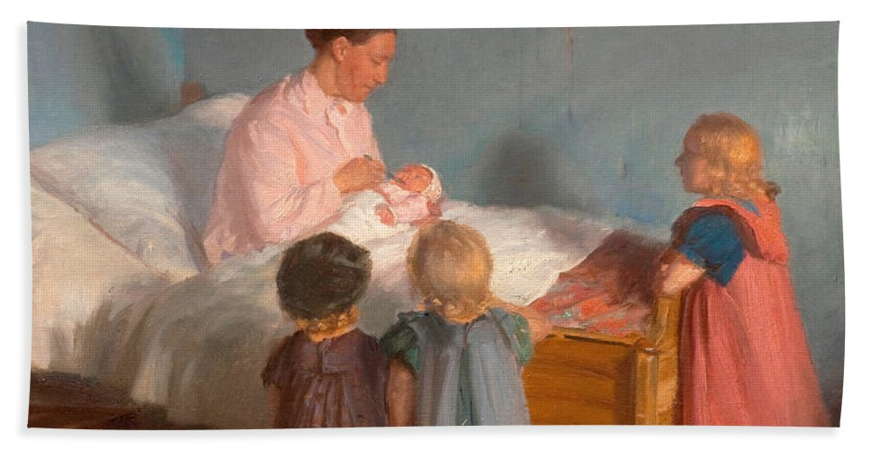Anna Ancher Hand Towel featuring the painting Little Brother by Anna Ancher