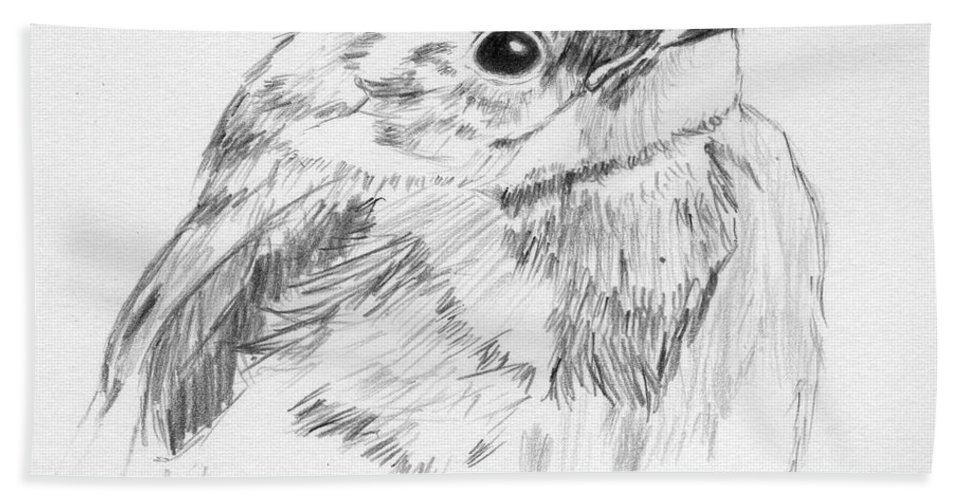 Bird Hand Towel featuring the drawing Little Buddy by Crystal Hubbard