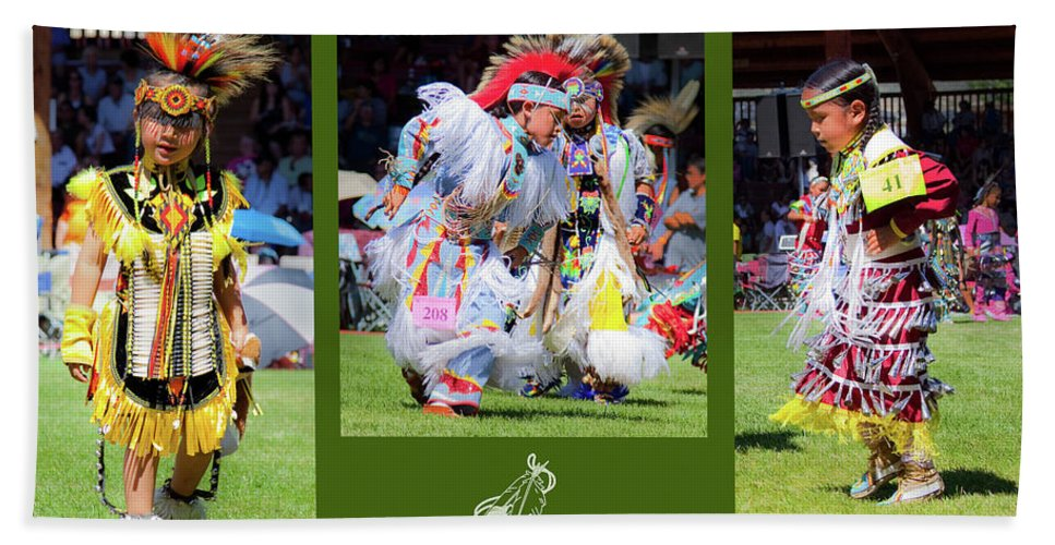 Native American Hand Towel featuring the photograph Little Competitors by Theresa Tahara