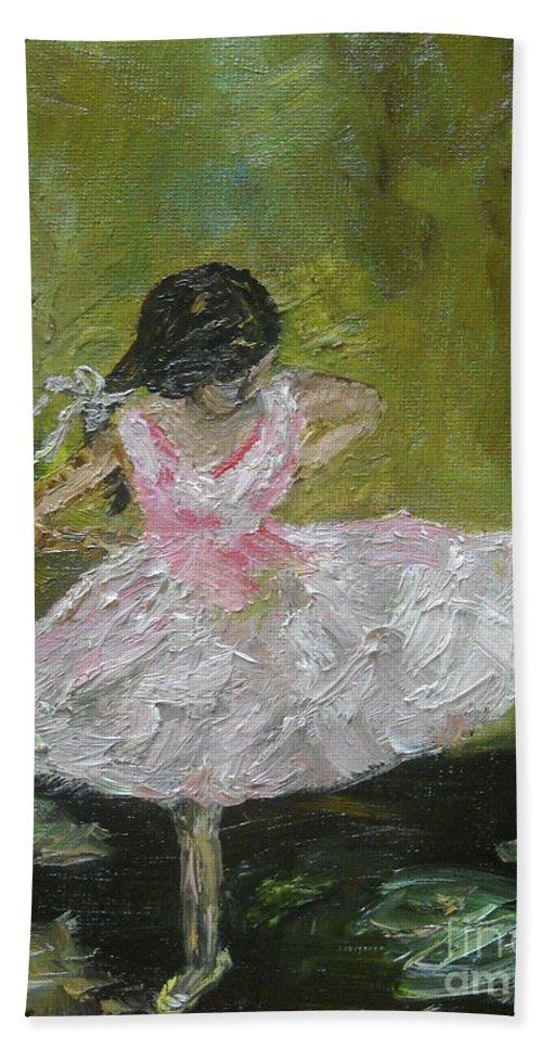 Girl Bath Sheet featuring the painting Little Dansarina by Reina Resto