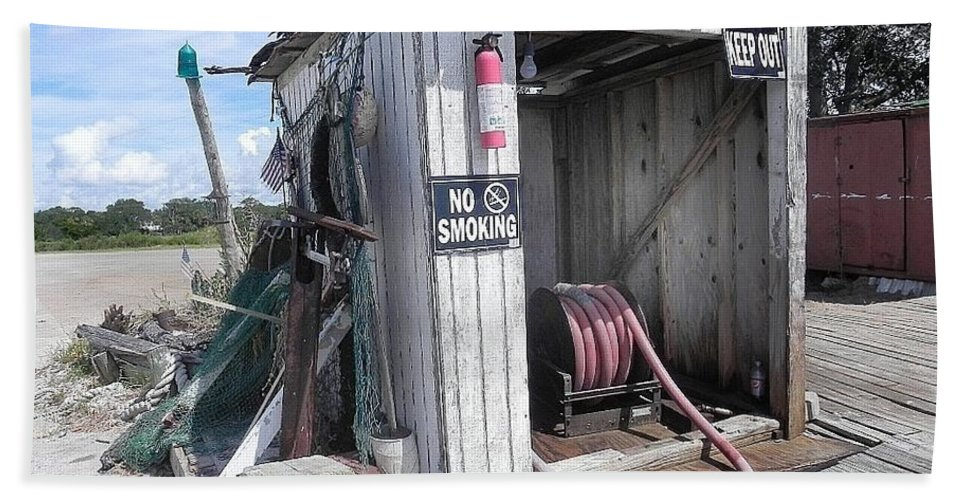 Shrimp Boats Bath Sheet featuring the photograph Little Gas Shack by Patricia Greer