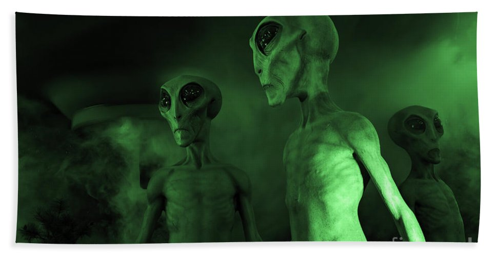 Ufo Hand Towel featuring the photograph Aliens And Ufo 6 by Bob Christopher