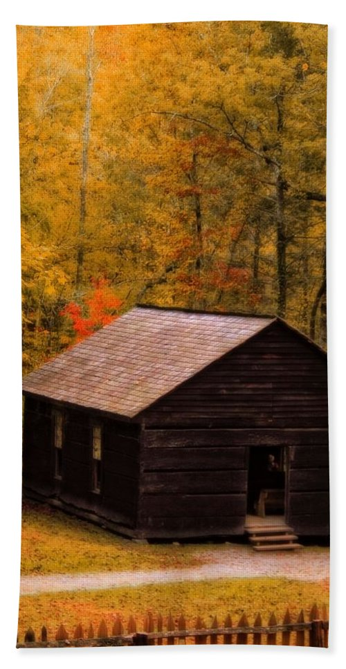 Little Greenbrier Schoolhouse In Autumn Bath Towel featuring the photograph Little Greenbrier Schoolhouse In Autumn by Dan Sproul