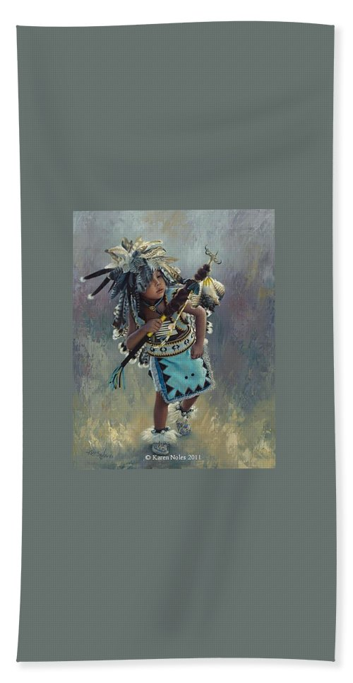 Karen Noles Bath Sheet featuring the digital art Little Kootenai Dancer by Karen Noles
