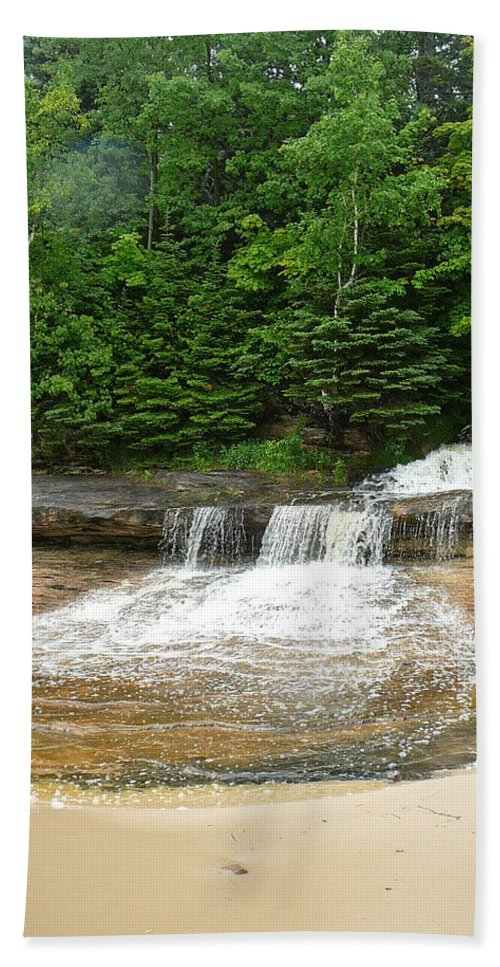 Upper Peninsula Bath Sheet featuring the photograph Little Miner Falls by Two Bridges North