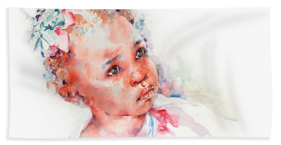 Africa Bath Towel featuring the painting Little Miss Africa by Stephie Butler